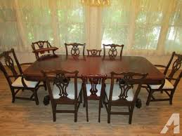 antique mahogany dining table w 6 ethan allen chippendale chairs