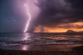 Night Lightning Beach Ocean Storm Sea Rain Full Hd Images Of Nature Download