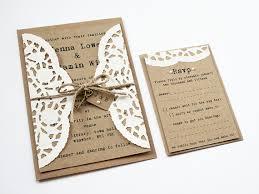Doily Kraft Wedding Invitation Set Rustic
