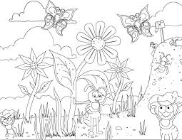 Happy Ant And Butterfly Coloring Page In The Garden