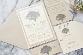 This Rustic But Elegant Oak Tree Wedding Invitation Suite Is Shown With A Beautiful