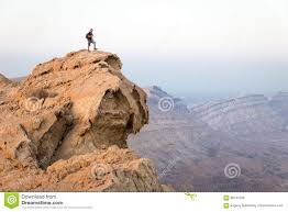 Backpacker Tourist Standing Mountain Cliff Edge Landscape Man
