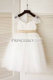 cap sleeves ivory lace tulle flower girl dress champagne
