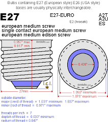 the different of the l socket e26 and e27l socket e26 and e27