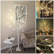 LUXURY 2 6ft LARGE LIGHTUP WHITE CHRISTMAS TWIG TREE BIRCH GLITTER SHABBYCHIC