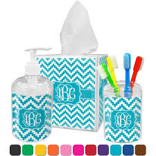 Blue Chevron Bathroom Set by Pixelated Chevron Bathroom Accessories Set Personalized Potty