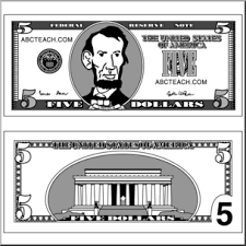Clip Art Five Dollar Bill Grayscale I abcteach