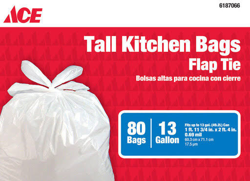 Ace Kitchen Trash Bag, 13 Gallon, 80/pk