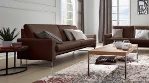interliving sofa serie 4001 dreisitzer mit federkern macchiatofarbenes leder z77 54 verchromte metallkufe länge ca