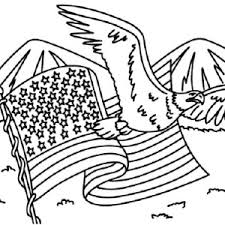 American Flag And Eagle For Independence Day Coloring Pages