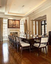 Transitional Dining Room With A Wooden Table