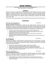 Resume Examples Restaurant Manager Sample Free Management