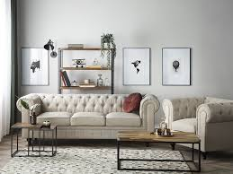 set sofa sessel chesterfield big beige ch