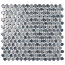 Home Depot Merola Penny Tile by Merola Tile Hudson Penny Round Stillwater 12 In X 12 5 8 In X 5