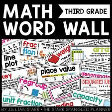 Math Word Wall 3rd Grade Common Core Aligned