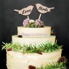 1 Pair Rustic Wedding Love Birds Shape Wooden Cake Topper Anniversary Pick