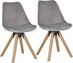 duhome 2er set stuhl esszimmerstühle küchenstühle farbauswahl mit holzbeinen sitzkissen esszimmerstuhl retro 518m farbe grau material samt