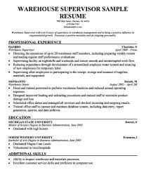 Sample Warehouse Supervisor Resume Manager Templates Examples For Relevant Portrayal Addition 2