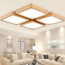 new creative oak modern led ceiling lights for living room bedroom