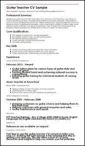 Guitar Teacher CV Sample