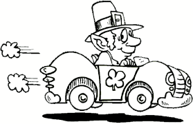 Racer Leprechaun Colouring Pages