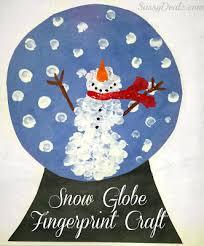 Diy Fingerprint Snow Globe Craft For Kids Snowman Art Project In Preschool Winter Arts And