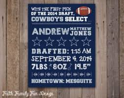 Decorating Ideas Dallas Cowboys Bedroom by Nfl Dallas Cowboys Birth Announcement Wall Art Personalized