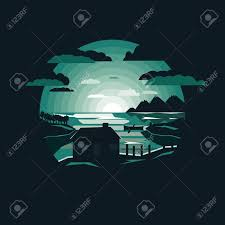 100 Lake Boat House Designs Night Nature Landscape With House By The Lakeboat Moon And MountainNegative