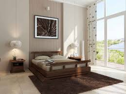 Bedroom Decoration Using Rectangular Furry Brown Rug In Including Large Glass Wall And Rustic Solid Cherry Wood Full Platform Bed