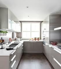 Appliances A Simple Kitchen Design With U Shape Island Decorated Herbs And Stainless Steel