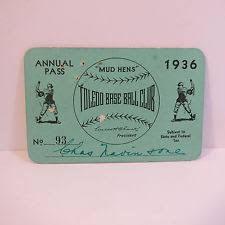 Original 1936 Toledo Mud Hens Baseball Season Pass Ticket
