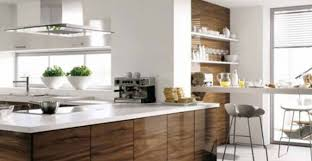 Modern Kitchen White Granite Countertop On L Shaped Cabinet With Shelving Also Panel Appliances