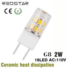 g8 led l bulb jcd light bi pin base 110v 120v 2w replace 20w