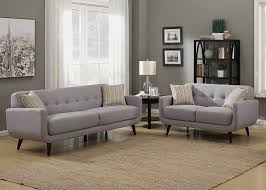100 2 Sofa Living Room AC Pacific Crystal Collection Upholstered Gray MidCentury Piece Set With Tufted And Loveseat And 4 Accent Pillows Gray