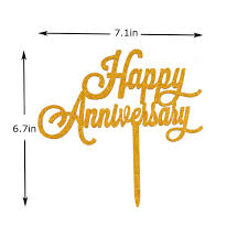 Buyjml: Buy Happy Anniversary Cake Topper, Gold Color ...