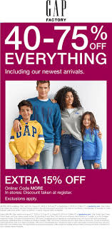 Gap Factory Coupons - 40-70% Off Everything + Another 15% At ... Gap Factory Coupons 55 Off Everything At Or Outlet Store Coupon 2019 Up To 85 Off Womens Apparel Home Bana Republic Stuarts Ldon Discount Code Pc Plus Points Promo 80 Toddler Clearance Southern Savers Please Verify That You Are Human 50 15 Party Direct Advanced Personal Care Solutions Bytox Acer The Krazy Coupon Lady