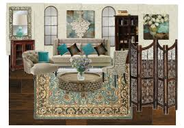teal and brown living room by tlchurcher olioboard