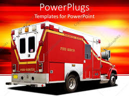 100 Fire Truck Template PowerPoint Fire Rescue Firetruck On White Ground And