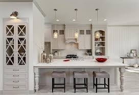 Light Gray Kitchen Cabinets with Arabesque Tile Backsplash