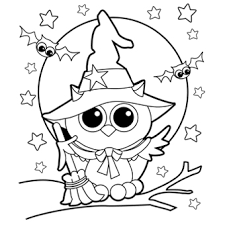 Pretty Childrens Halloween Coloring Pages Owl WitchNew