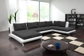 canapé d angle u canapé d angle panoramique en pu blanc et tissu noir chiné luberon 6