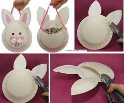 DIY Easter Bunny Basket From Paper Plate Step By