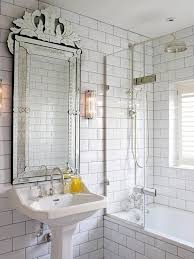 bathroom with white subway tiles and grout transitional