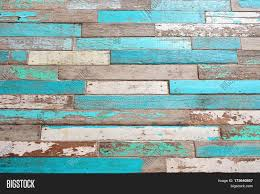 Old Wood Texture Background Vintage With Blue Green Color Peeling Paint