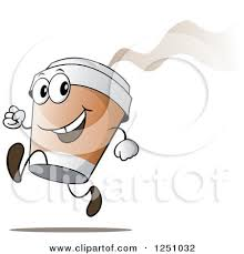 Happy Hot To Go Coffee Cup Character Running