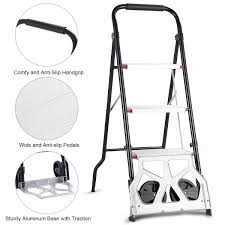 100 Two Wheel Hand Truck Costway 2in1 Convertible 3Step Ladder Trolley Cart