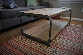 Rustic Style Steel Pipe Coffee Table With Shelf