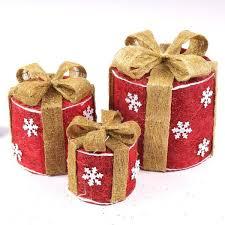 Boîte Cadeau Décoration Noel Couleur Rouge Noeud Doré Structure Fer