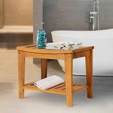 homcom duschhocker badhocker duschsitz duschstuhl feuchtigkeitsbeständig akazienholz teak 53 x 35 x 43 cm natur