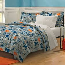 Blue Gray Skateboard Bedding Teen Boy forter Set Bed in a Bag